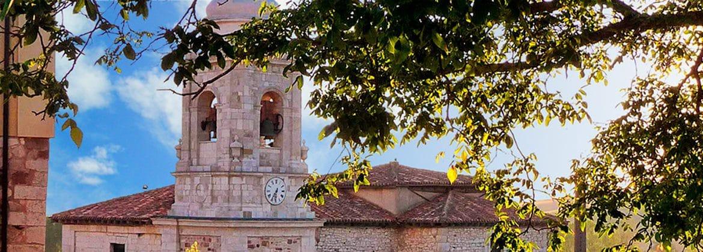 Panorámica de Villafranca Montes de Oca con iglesia