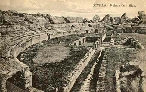 Postal antigua de las ruinas del Anfiteatro de itálica en Santiponce