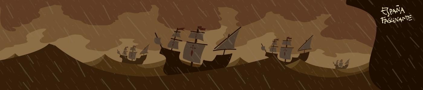 Primeras tormentas de la vuelta al mundo de Magallanes y Elcano