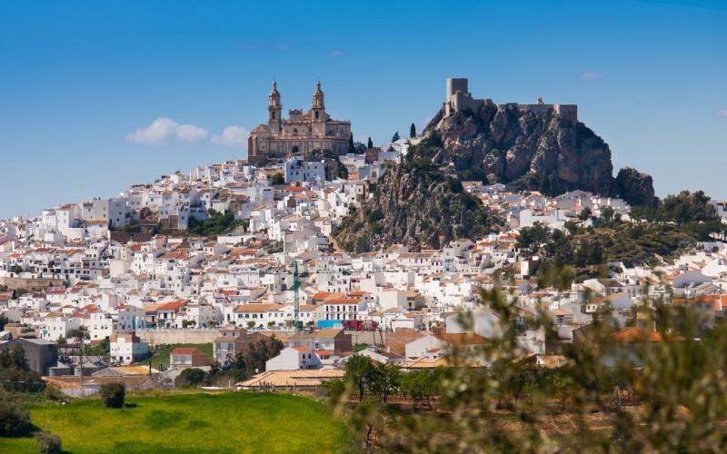 Panorámica del pueblo de Olvera, destacando la iglesia de Nuestra Señora de la Encarnación y el castillo