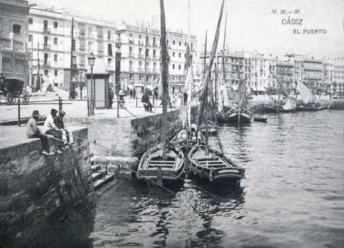 Vista del puerto de Cádiz en el siglo XIX
