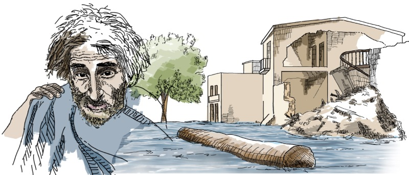 Ilustración de la riada de Santa Teresa