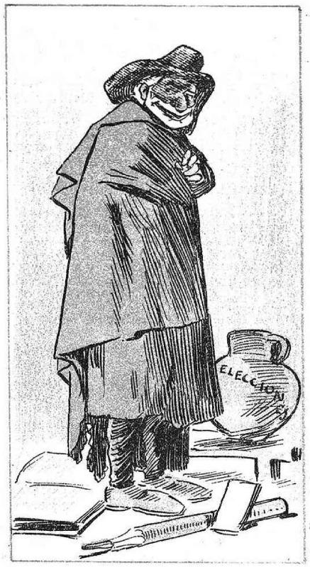 Caricatura de Sagasta y los pucherazos