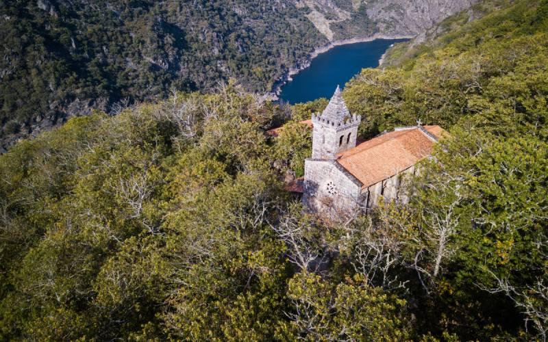 Vista área del monasterio de Santa Cristina de Ribas de Sil