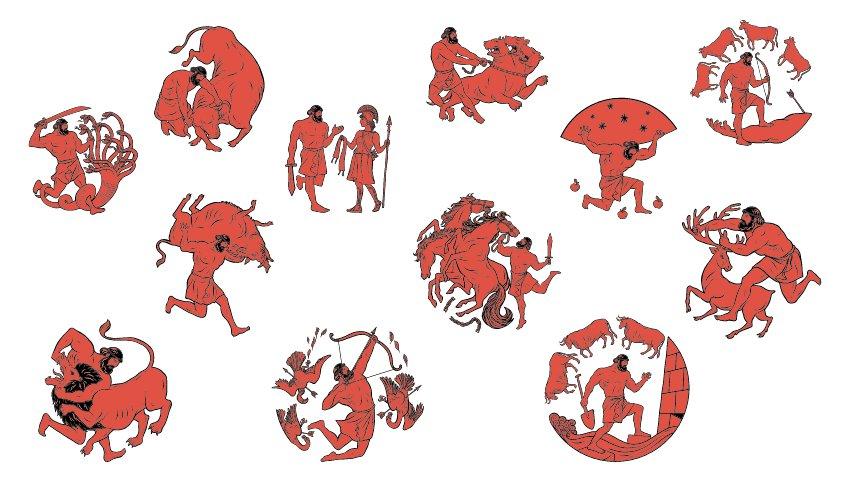 Ilustración de los 12 trabajos de Hércules