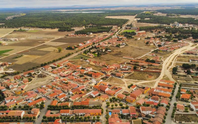 Vista aérea del pueblo de Coca