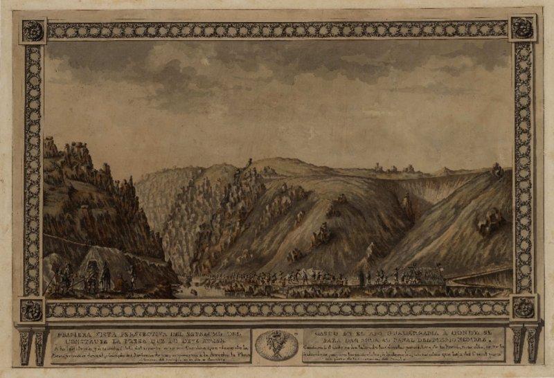 Dibujo del siglo XVIII de la construcción de la presa de El Gasco