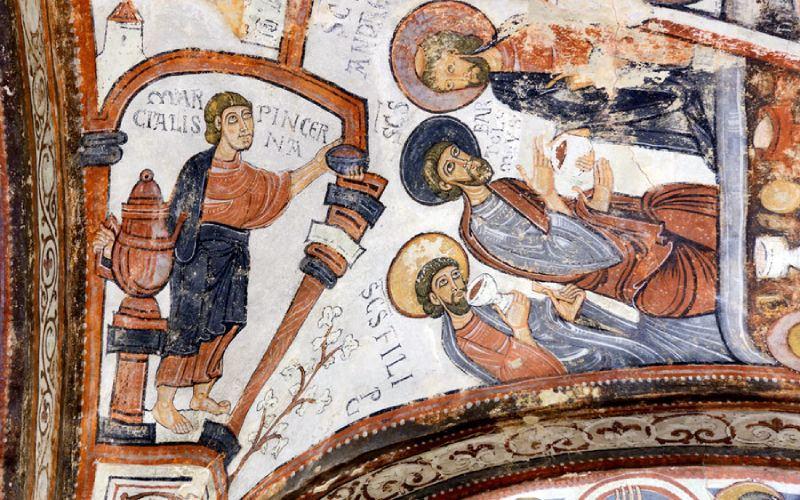 Frescos del panteón de los reyes de León, detalle de la Última Cena