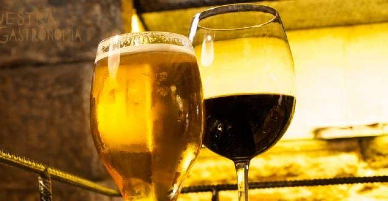 Salud con vino y cerveza